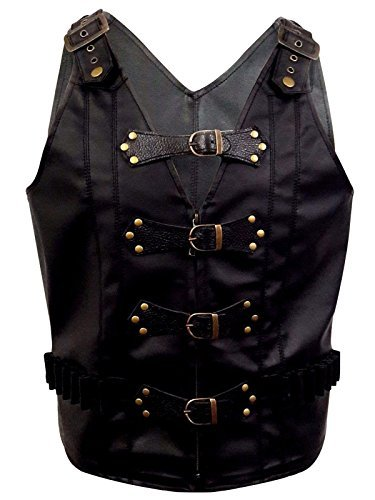 Mens Real Black PU Faux Leather Heavy Duty Steampunk Gothic Style Vest Waistcoat -(B25) (Medium) (Buckle Vest)