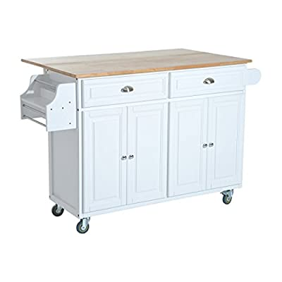 HomCom Kitchen Island - Modern Rolling Storage Cart on Wheels With Wood Top