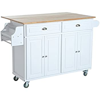 Crosley Furniture Natural Wood Top Kitchen Cart Island White Kitchen Dining
