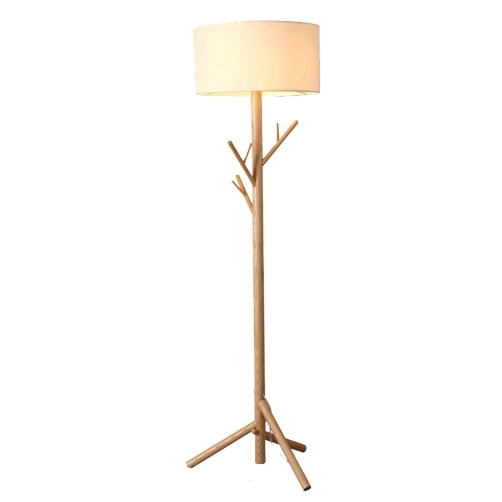WD-Solar Flashlight Nordic Solid Wood Branches Hanger Floor lamp Bedroom Study Living Room Fabric Wooden Floor lamp