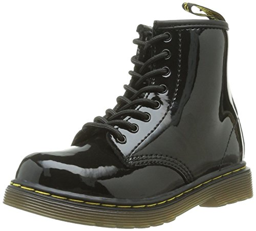 Dr Martens Brooklee Noir Patent Toddler Zip Chaussures Bottes