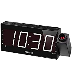 Mesqool Projection Alarm Clock for Bedrooms - AM FM Radio,180° Projector, 7 Large LED Display & Dimmer, Dual Alarms, USB Charger Port,Battery Backup Desk Wall Ceiling Travel Clock for Kids, Elders