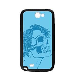 Custom Stylish Skull Girl Blue Color Printed Design TPU Protective Case for Samsung Galaxy Note 2 N7100 Casehome-02331