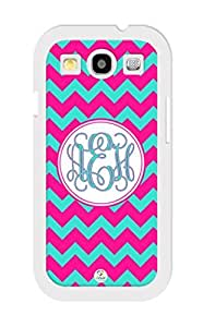 Samsung Galaxy S5 Case Monogram Personalized Deep Pink and Turquoise Chevron Pattern RUBBER CASE - Fits Samsung Galaxy S5 T-Mobile, Sprint, Verizon and International (Black)