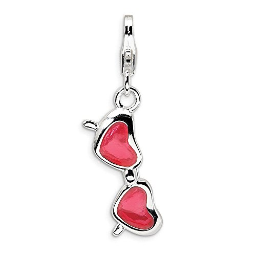 Sterling Silver Enameled Coral Heart Sunglasses w/Lobster Clasp Charm Pendant