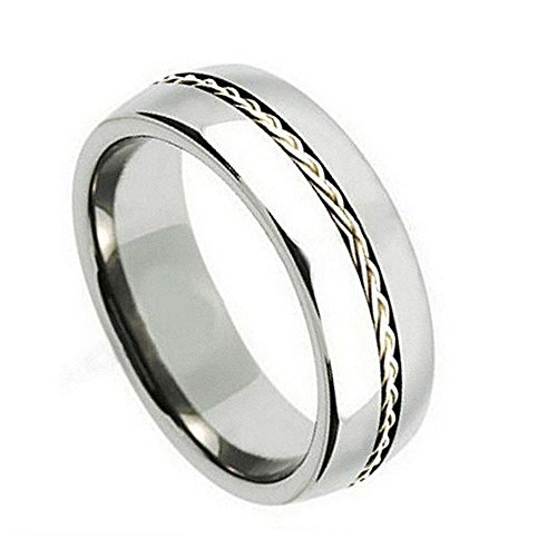 (Double Accent Custom Engraving 8MM Comfort Fit Titanium Wedding Band Braided Sterling Silver Inlay Grooved Promise Ring)