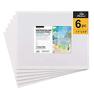 PHOENIX Watercolor Canvas Panel Boards – 11×14 Inch/6 Pack – 1/8 Inch Deep Professional Artist Painting Canvas for Water Soluble Paints