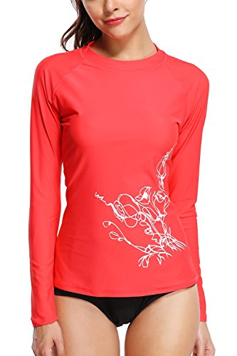 Sociala Womens UPF 50+ Long Sleeve Rash Guard Swimwear Rash Guard Top Rashguard S Raspberry