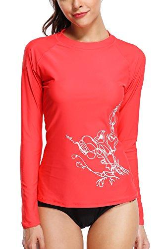 Sociala Womens UPF 50+ Long Sleeve Rash Guard Swimwear Rash Guard Top Rashguard - Guard Womens Red Rash