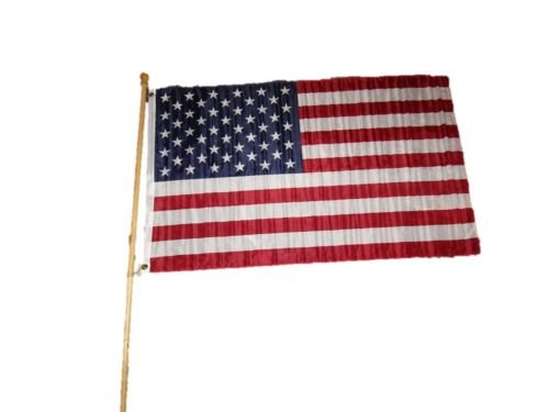 5ft Wooden 1'' Diameter Flag Pole Adjustable w/ 3x5 ft USA American Poly Flag BEST Garden Outdor Decor polyester material FLAG PREMIUM Vivid Color and UV Fade Resistant - 1' Flag Pole