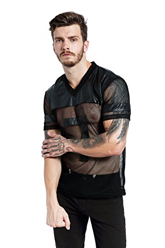 bdddfcbe9b F plus R Mens Novelty Character T-Shirt Fashion Faux Leather Mesh Stitching  Tees