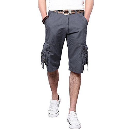 Bloom Jenny Men's Casual Loose Fit Cotton Multi Pocket Cargo Shorts