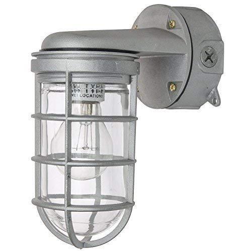LED 8.7/8-Inch 12 Watt Vapor Proof Vandal Proof Outdoor Fixture, Metallic Finish Clear Glass (LED) (Chrome LED) ()
