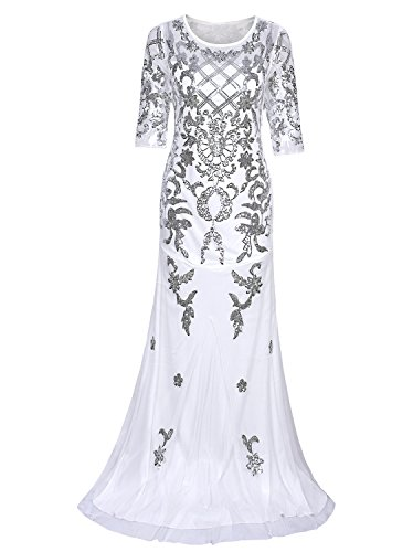 Vijiv Vintage 1920s Long Wedding Prom Dresses 2/3 Sleeve Sequin Party Evening Gown,Silver White,Small]()