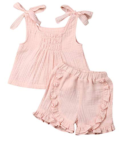 - Toddler Baby Girl Cotton Linen Outfits Clothes Ruffle Spaghetti Straps Tops&Elastic Waist Shorts 2 Pieces Sets (Pink+1, 2T)