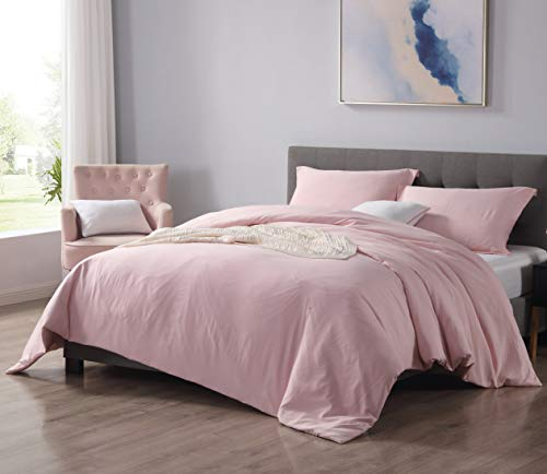 EXQ Home Pink Duvet Cover Set Queen Full Size 3 Pcs, Hotel Collection Vintage Bedding Hypoallergenic Soft Microfiber Comforter Cover with Zipper Closure