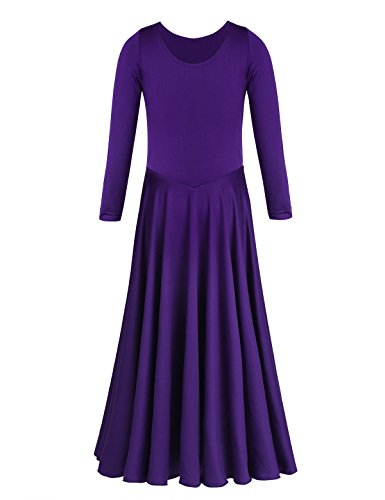TiaoBug Girls Long Sleeves Round Neck Loose Fit Ballet Dance Dress Stretchy A Line Skater Skirt Dance Costume Purple 7-8