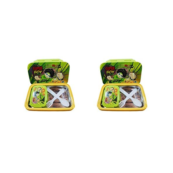 A K EnterprisLock & Seal Plastic Lunch Tiffin Box for Children's Kids School Students Workers-Set of 2