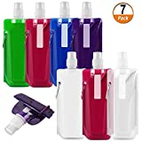 7 Pieces Collapsible Water Bottle Reusable Leak-Proof Drinking Water Bottle with Clip