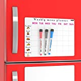 White Meal Planning Pad Magnets for Refrigerator - Dry Erase Weekly Menu Magnet Fridge Planner - Family Schedule Dinner List Whiteboard - Kitchen Grocery Shopping Magnetic Notepad Organizer | Markers
