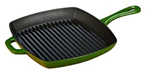 Lodge ECSGP53 10-Inch Color Enamel Cast Iron Square Grill Pan (Emerald Green)