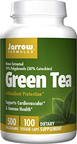 Jarrow Formulas Green Tea 5-to-1, Supports Cardiovascular Immune Health, 500mg, 100 Capsules Pack of 2