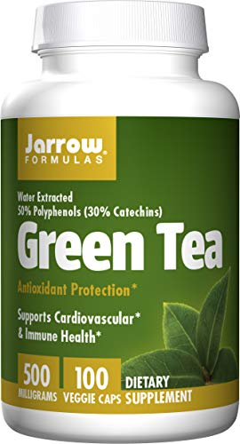 Jarrow Formulas Green Tea, Supports Cardiovascular & Immune Health, 500 mg, 100 Caps (Green Tea Extract Capsules For Weight Loss)