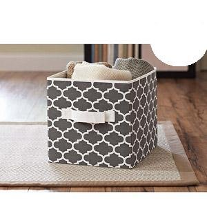 better homes and gardens collapsible fabric storage cube grey lattice