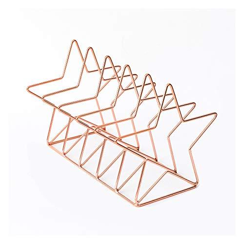 Simple Bookends Metal Unique Lines Book Holder Storage Rack for Shelves Desk Decor Pentagram Rose Gold