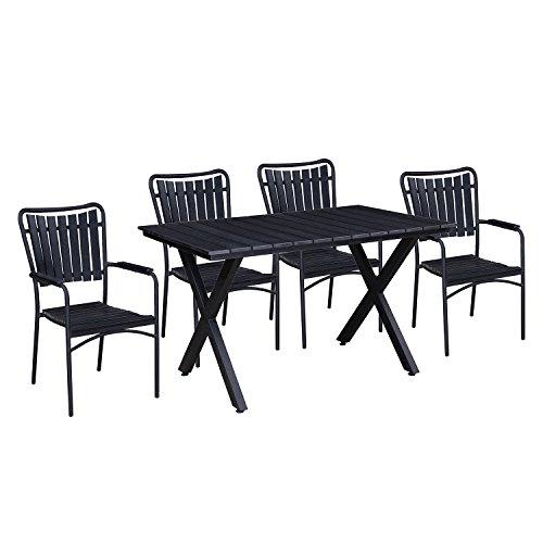 - Oakland Living AZ902-715(4)-BK (4) Modern Outdoor Dining Set, Black