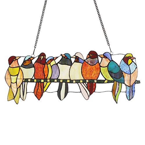stained glass birds window panel - 9