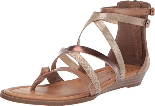 Blowfish Women's Bungalow Wedge Sandal,Sand/Amber/Sahara Mirage/Gold Cosmic,8