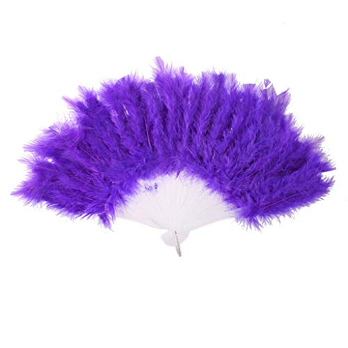 (Agordo Ladies Burlesque Feather Hand Fan Fancy Dress Costume Prop)