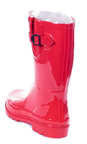 Forever Young Women Rain Boots, Mid-Calf 11 Rubber Booties Red