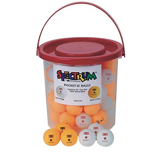 S&S Worldwide PB145 Spectrum Bucket O' Table Tennis Balls (bucket of 60) (Pack of 60) by S&S Worldwide