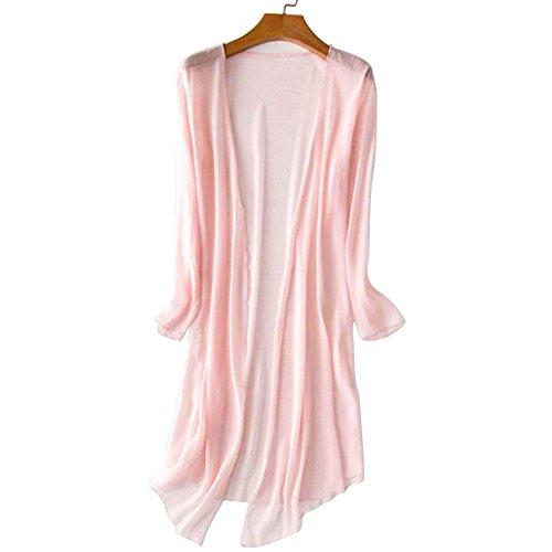 beauty Kimono Vin Blouse Pink Manches Femmes Cardigan Vrac Ouvert Coat Capotes Mousseline Soie Longues Kimono en Daily Mesh de TOPmountain qUBrxdwU