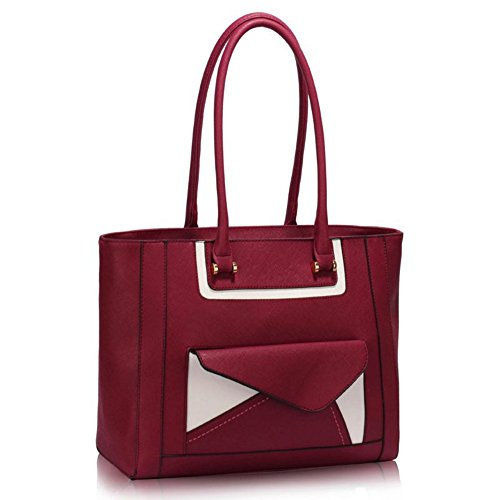 Nice Designer Bag Front Quality Handbags Size Ladies Shoulder LeahWard Burgundy Tote 454 Large Pocket Women's Bags Bag TtxwnqqIvW