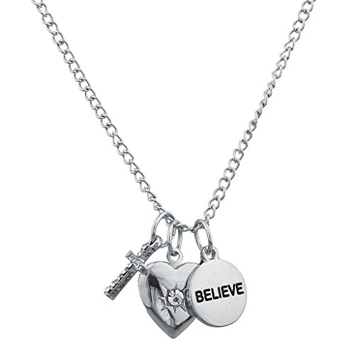Lux Accessories Silvertone Believe Heart Christian Inspirational Charm Necklace
