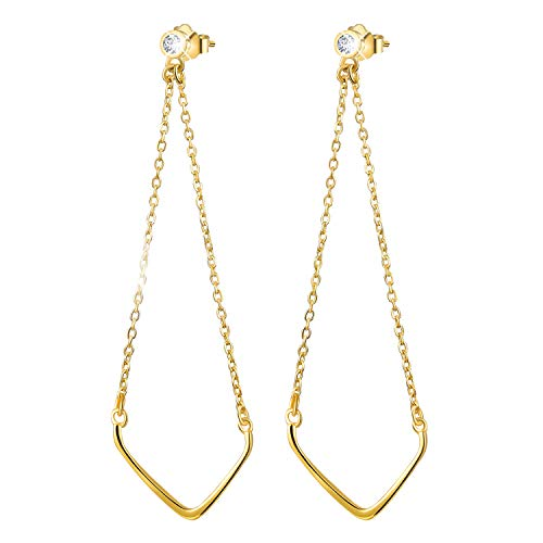 Esberry 18K Gold Plating 925 Sterling Silver CZ Inverted Triangle Chain Dangle Earrings Cubic Zirconia Drop Earrings Jewelry for Women and Girls (Yellow Gold)