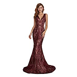 Style D ( Burgundy) Long Sequin Mermaid Dress Sleeveless