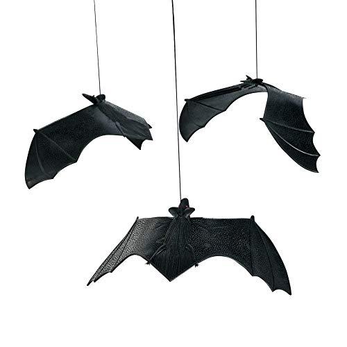 fun express ~ Dozen Rubber Halloween Hanging Bats on Strings - 13 Inch Size