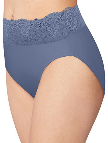 Light Blue Stretch Lace Panty - Bali Passion for Comfort Lace Hi Cut Brief Panty DFPC62 Large Light Blue