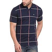 BULLMER Men's Half Sleeve Polo Neck Checkered Cotton Tshirt - Navy