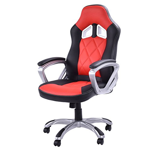 High Back Racing Style Bucket Seat Gaming Chair Swivel Office Desk Task Red New + FREE E-Book by Eight24hours