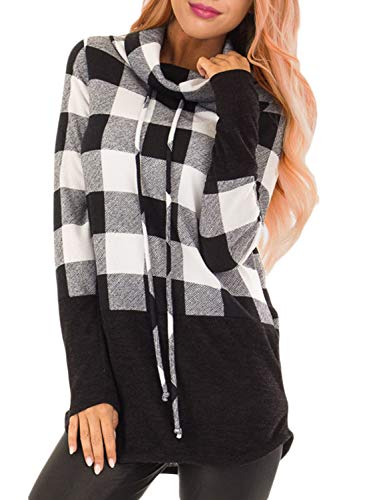 HOTAPEI Women's Fall Cowl Neck Plaid Long Tunic Sweatshirts Pullover Sweaters Long Sleeve Casual T-Shirts Long Tunic Tops for Women to Wear with Legging Black X-Large (Black Jumper Long)