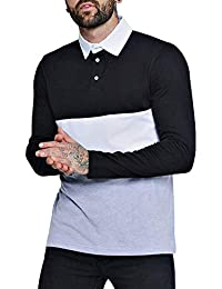 Long Sleeve Polo Shirts Casual Cotton Modern Fit Color Block Rugby Polo Tshirts