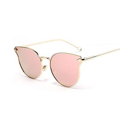 CHJKMN Gafas de sol de ojo de gato vintage para mujer Gafas de sol de espejo de oro rosa para mujer Gafas de sol para mujer planas únicas retro: Ropa y accesorios
