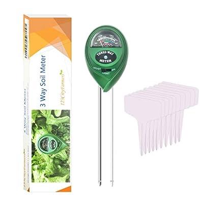 CityFarmer Soil ph Meter 3-in-1 Soil Test kit, ph, Light, Moisture Tester for Plant, 10 Free Bonus Garden Labels, Great for Gardening, Farming, Indoor, Outdoor, one Year Limited Warranty