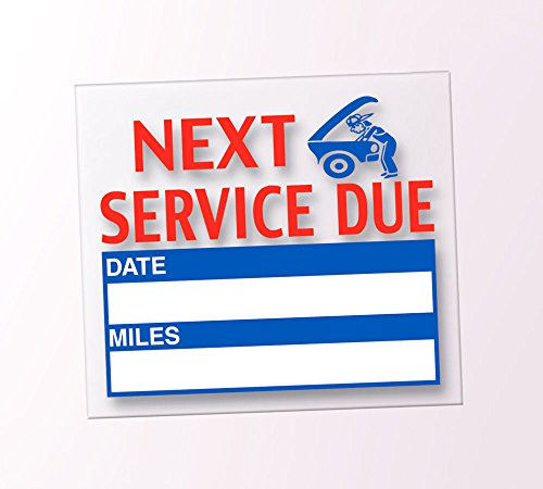 Generic Next Service Due Reminder Stickers – Oil Changes, Tune-Ups, Tire Rotations – Static Cling (100 Per Pack)