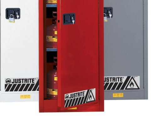 Justrite 892321 Sure-Grip EX Galvanized Steel 2 Door Self Close Undercounter Safety Cabinet, 22 Gallon Capacity, 35